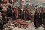 """哥萨克酋长、扎波罗热军队领袖博格丹·赫梅利尼茨基在沙俄全国大会上要求接受信奉东正教的乌克兰人民受""""高贵的""""俄罗斯沙皇的保护。"""