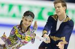 俄罗斯组合叶琳娜·伊利依内赫(Elena Ilinykh)/尼基塔·卡查拉波夫(Nikita Katsalapov)在自由舞中获胜,得分首先超过100分,但总成绩仅以0.11分之差屈居同胞叶卡捷琳娜·波布罗娃(Ekaterina Bobrova)/德米特里·索洛维约夫(Dmitry Solovev)组合之后。图片来源:AP