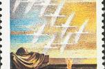 1995年俄罗斯邮政为纪念卫国战争胜利50周年发行的邮票。图案为白鹤与无名烈士墓。图片来源:Wikipedia