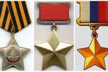 俄罗斯英雄勋章和奖牌(自左至右):光荣勋章、苏联英雄奖牌和俄罗斯英雄奖牌