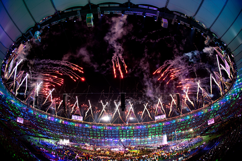 Celebratory fireworks at the closing ceremony of the 14th summer Paralympic Games in London.