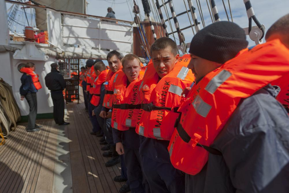 Now there are 200 people on board, half of whom are cadets from the Murmansk State Technical University, who are working on shifts during the voyage.
