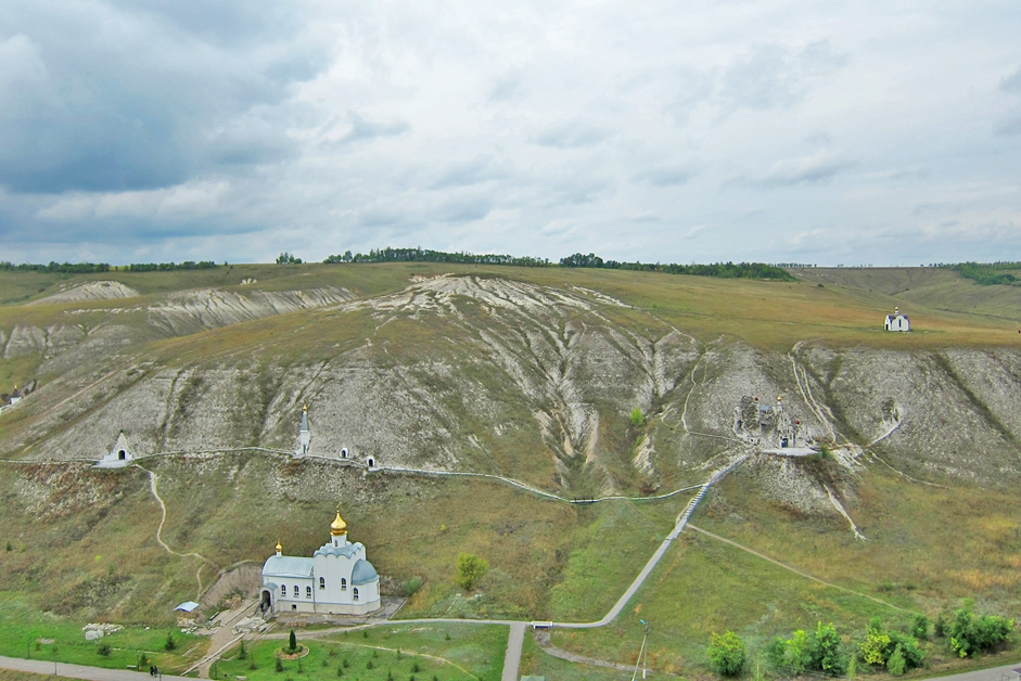 The Svyato-Spassky Convent, Kostomarovo, Voronezh Region // The Svyato-Spassky Convent in Kostomarovo is an ancient cave monastery located in the Voronezh Region on the Don river. There are two churches in these caves: a big Spassky temple with columns and a small St. Seraphim Sarovsky church. The big underground Spassky temple houses up to 2000 people.