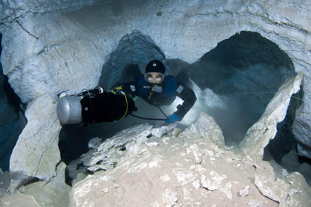 """Divers call Orda Cave the """"white bride"""" because of the chalky color of the gypsum rock, which formed about 200 million years ago."""