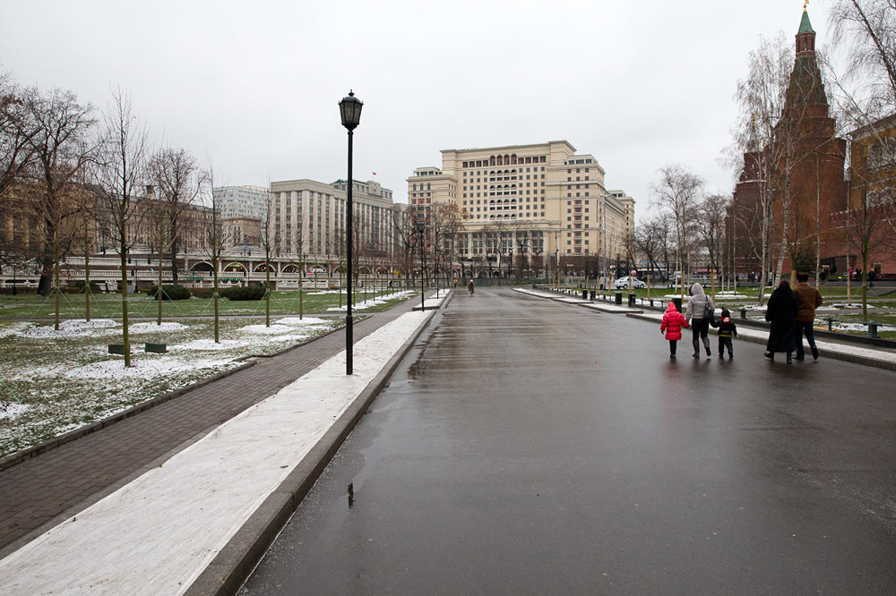 Recently, Moscow's authorities have ordered the lime trees in Alexander Gardens near Kremlin to be cut. Over 20 trees were cut, leaving many Muscovites anger at that decision. Without its iconic trees Alexander Garden looks empty.