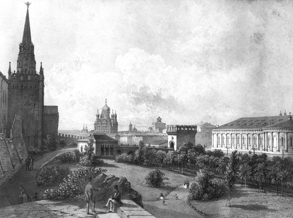 This garden was laid out by Bove in 1819–22, after the Neglinnaya River that ran beside the Kremlin's western wall was channeled into an underground pipe. It was one of the first urban public parks in Moscow.