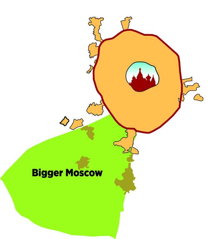 2012年7月1日//拡大するモスクワ//2012年7月1日、モスクワは南西方向に大きく拡張した。新たな領域を獲得したことで、ロシア首都の公式の面積は2倍以上になる。