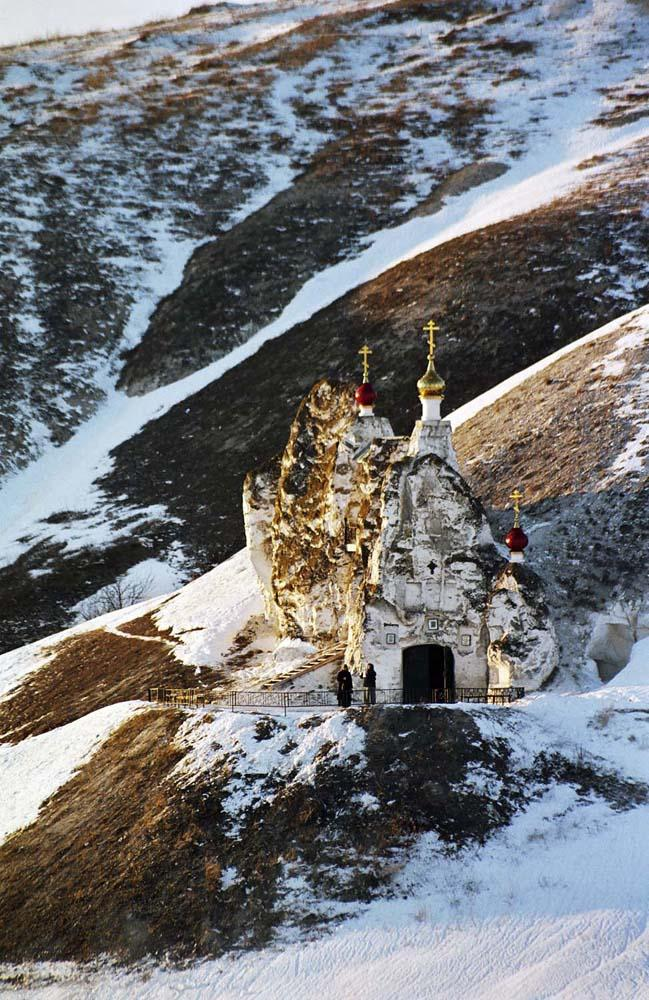The shelf of Golgotha Mountain. The Spassky Cathedral and the steeple // The mystery of these caves remains unresolved.