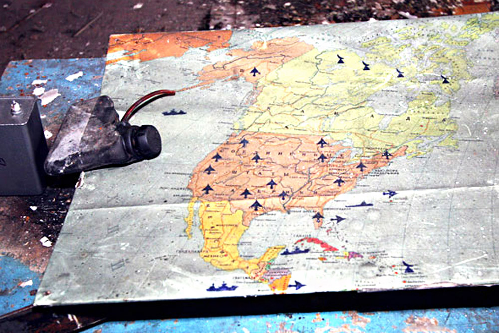 Maps of the USA indicating the location of military facilities were discarded by both the army command and the metal thieves who raided the place immediately after the soldiers' departure.