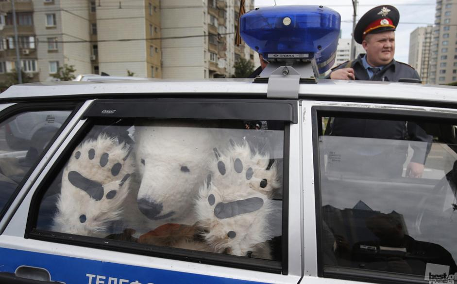 Not surprisingly, this year many pictures had the Russian protest movement as a subject // Police after the arrest of a Greenpeace activist dressed in a polar bear costume, Moscow