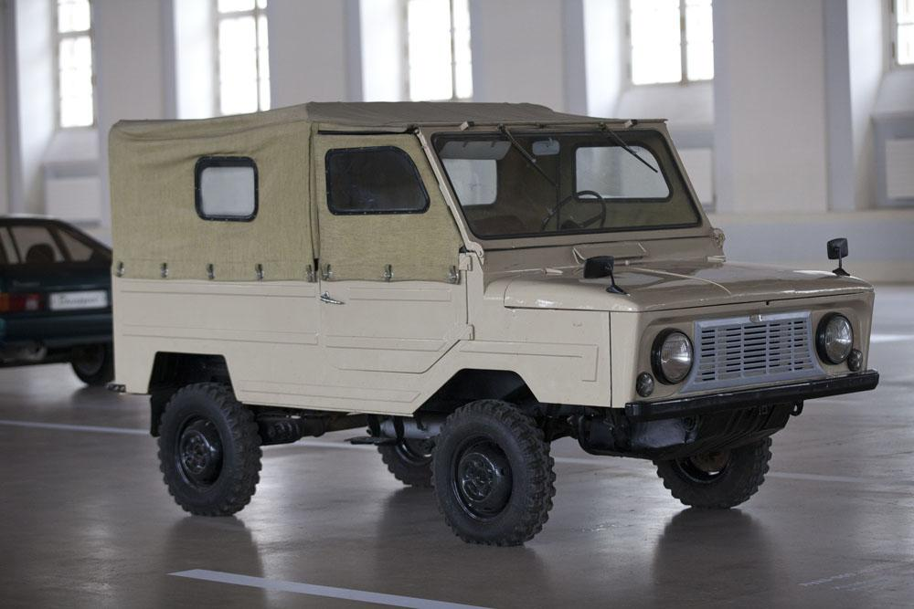 The LuAZ-967 was the civil designation of the Transporter of the Front Line, a small Soviet four-wheel drive amphibious vehicle. It was designed in 1959 at the Moskvitch MZMA plant, for Russian Airborne Troops. Mass production took place between 1961-1975 at Lutsk automobile plant - LuAZ.