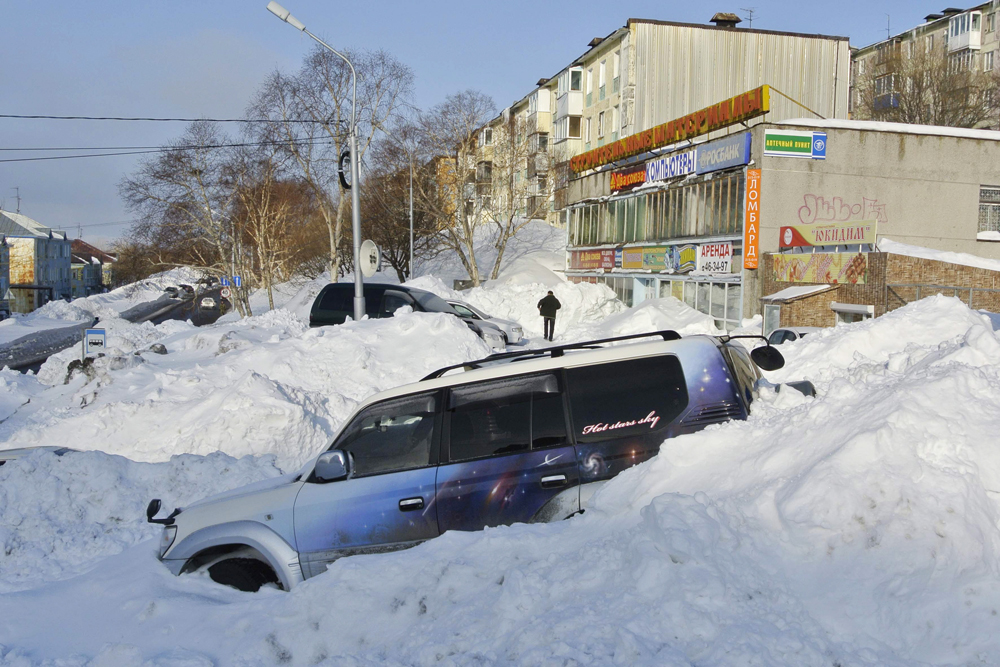 After the snowfall in Kamchatka. By the way, some Russian scientists believe current strong frosts and abnormal snowfalls in Europe and Russia are the consequence of a global climate change.