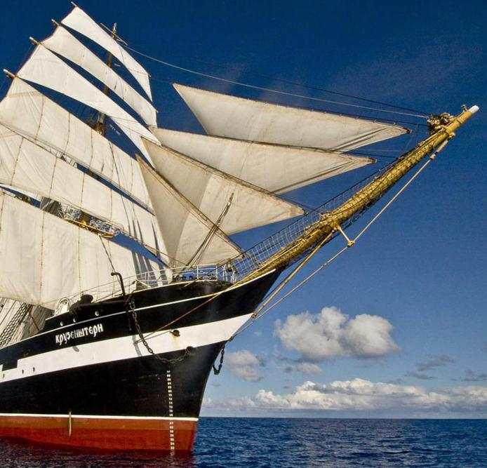 In 1995/96 she made a trip around the world in the trail of her namesake. She again circumnavigated the globe in 2005-06 to commemorate the 200th anniversary of Krustenstern's circumnavigation.