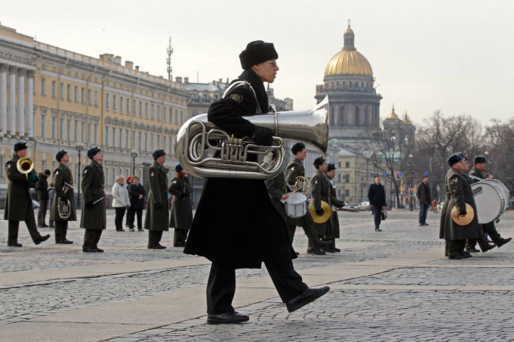 A musician from a military orchestra marches during a rehearsal for a Victory Day military parade in Dvortsovaya square in St. Petersburg April 11, 2013. Russia will mark the anniversary of the Soviet Union's victory over Nazi Germany in World War Two on May 9.