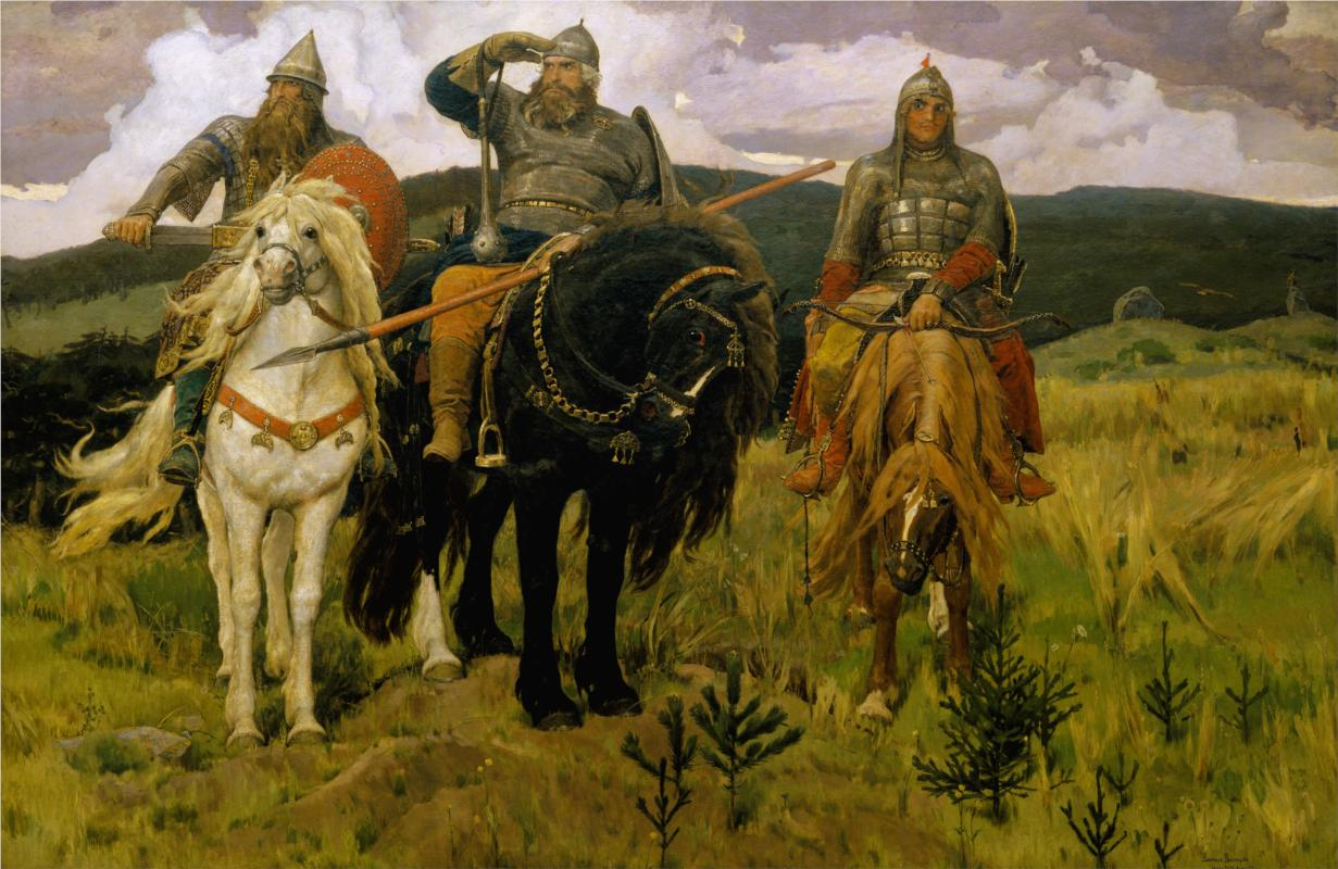 "The artist considered the canvas ""Bogatyrs"" (1898) to be his civic duty. The picture, which he had first sketched back in 1871, was the crowning achievement of Vasnetsov's heroic cycle. // ""Bogatyrs"", 1881"