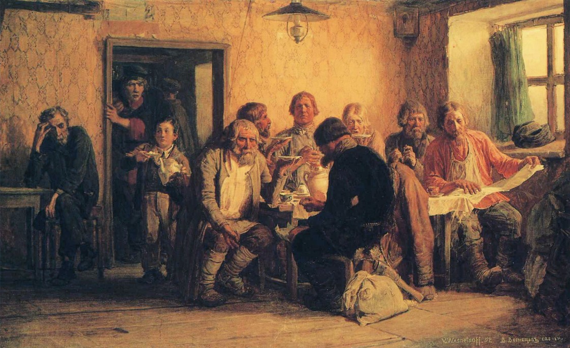 "In August 1867, Vasnetsov departed for St Petersburg to study at the Imperial Academy of Arts. His experience there contributed to the success of his subsequent oil paintings: ""The poor singers"" and ""Drinking tea in a tavern,"" which reflected his study of human nature and social phenomena. // ""Drinking tea in a tavern"", 1874"