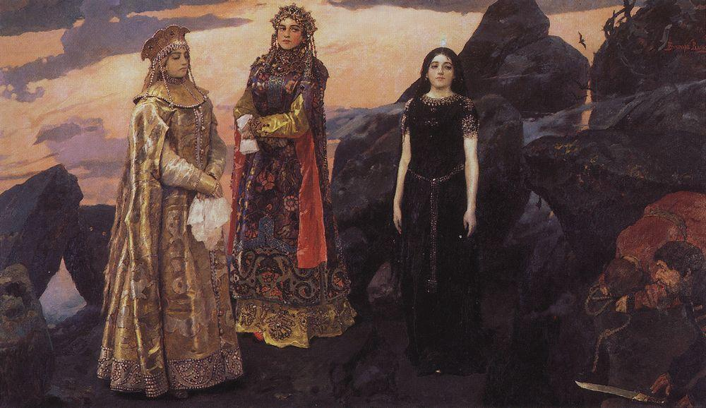 "The theme of masculinity and heroism runs through his work in unison with the search for ideal feminine beauty. The triptych ""Three princess of the underworld kingdom""(1881), the second version of which (1884) the artist described as one of his most cherished works, links a fairytale motif with a decorative form typical of art nouveau. // ""Three princess of the underworld"", 1884"