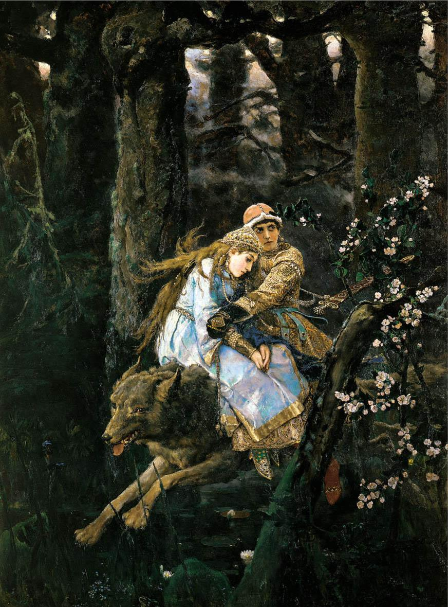 "In 1889, the artist created the easel painting ""Prince Ivan riding the grey wolf,"" filled with the powerful force of nature. In this picture, the ""Vasnetsov landscape"" found one of its most striking and enduring embodiments. // ""Prince Ivan riding the grey wolf"", 1889"