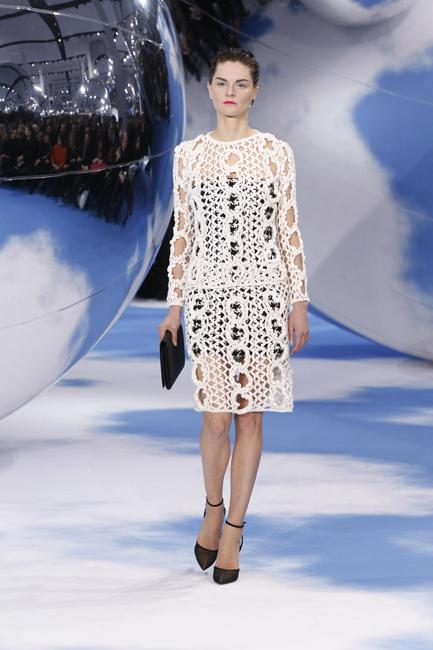 Hand-knitted skirt and cardigan from Dior's autumn-winter collection.