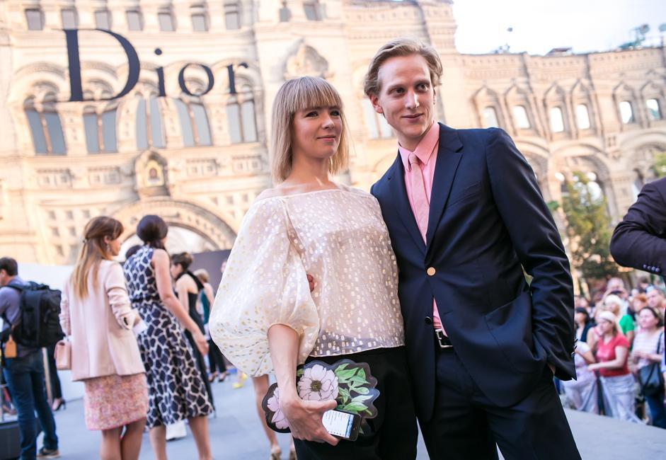Russian designer Vika Gazinskaya with companion ahead of the Dior show.