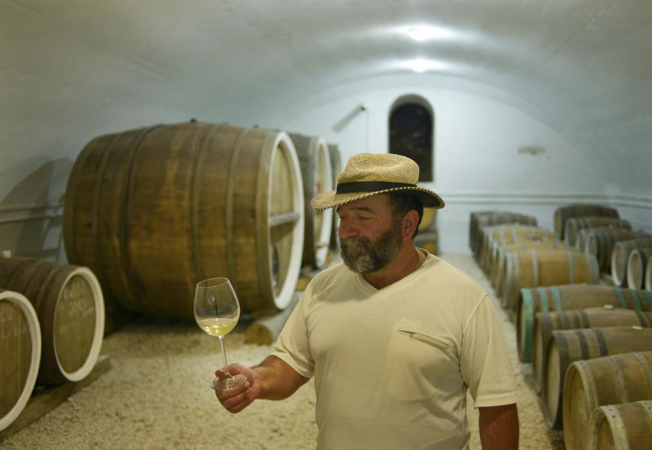 "Just like any owner full of feeling for his accomplishment, Yanis swears that in and near the region there is nothing similar to his product: ""We don't have any herbicides, any yeast, sugar, or stainless steel tanks. We subject our wine to only a coarse filtration and store it in oak barrels. Remember: it's the barrel that makes the wine!"""