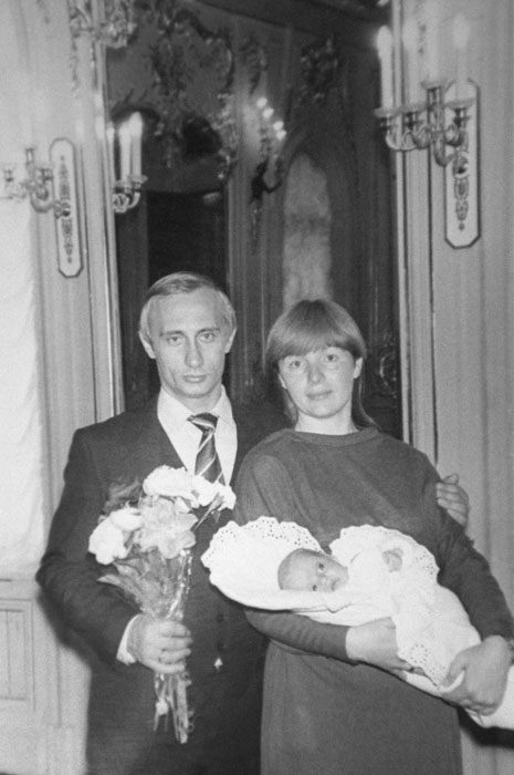 Russian President Vladimir Putin and his ex-wife Lyudmila with their just-born daughter Maria. 1985.