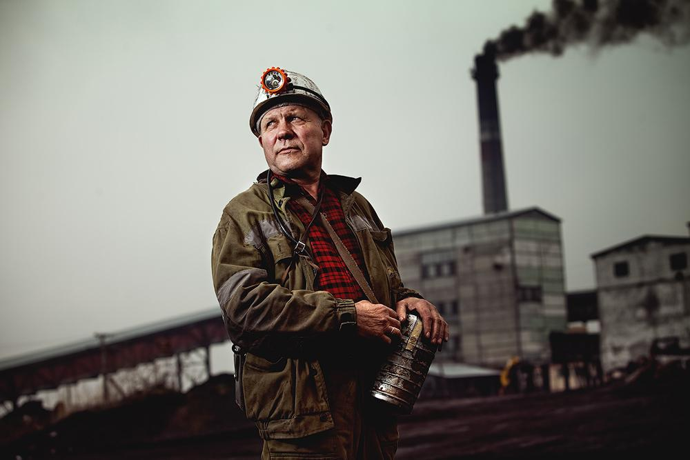 A miner has one of the most dangerous professions. For every million tons of mineral resources mined, an average of four human lives is lost. In the photo: a miner, chief power engineer. Leninsk-Kuznetsky, a small city in Kemerovo Oblast, Russia.