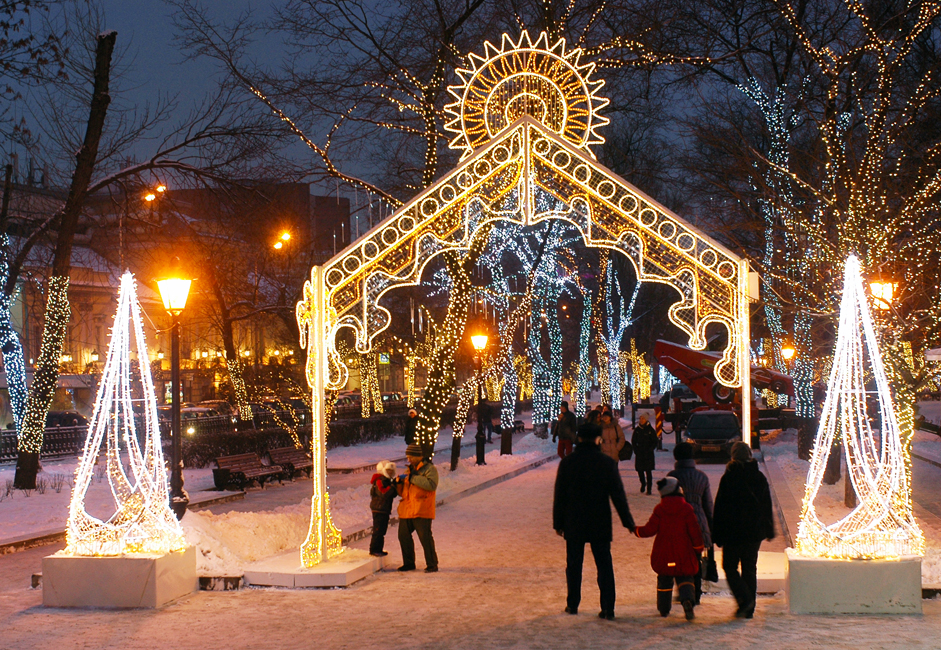 Christmas decorations on Tverskoy Boulevard in Moscow.