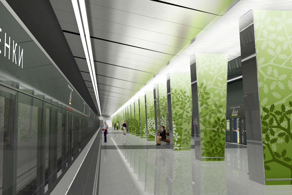 Ramenki//The theme for Ramenki's design is inspired by the district's history: silhouettes of trees on a green background recall the oak groves that once existed in the area. In order to keep passengers safe, the edges of platforms are separated from the tracks by glass dividers with sliding doors./Approximate opening date: 2015