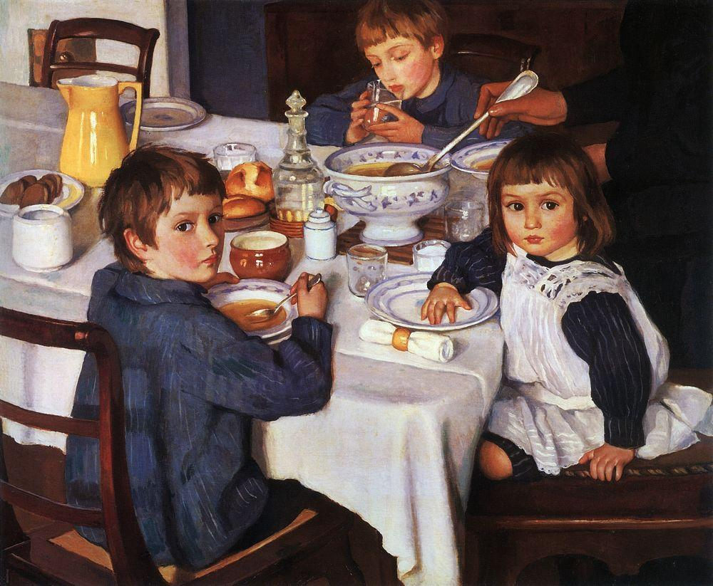 During the civil war in Russia in 1917, Zinaida's husband worked in Siberia as a railway engineer, while she and her four children remained at the Neskuchnoe estate. It proved impossible to relocate to Petrograd (now St Petersburg). Serebryakova moved instead to Kharkov (in modern Ukraine). \ At Breakfast, 1914
