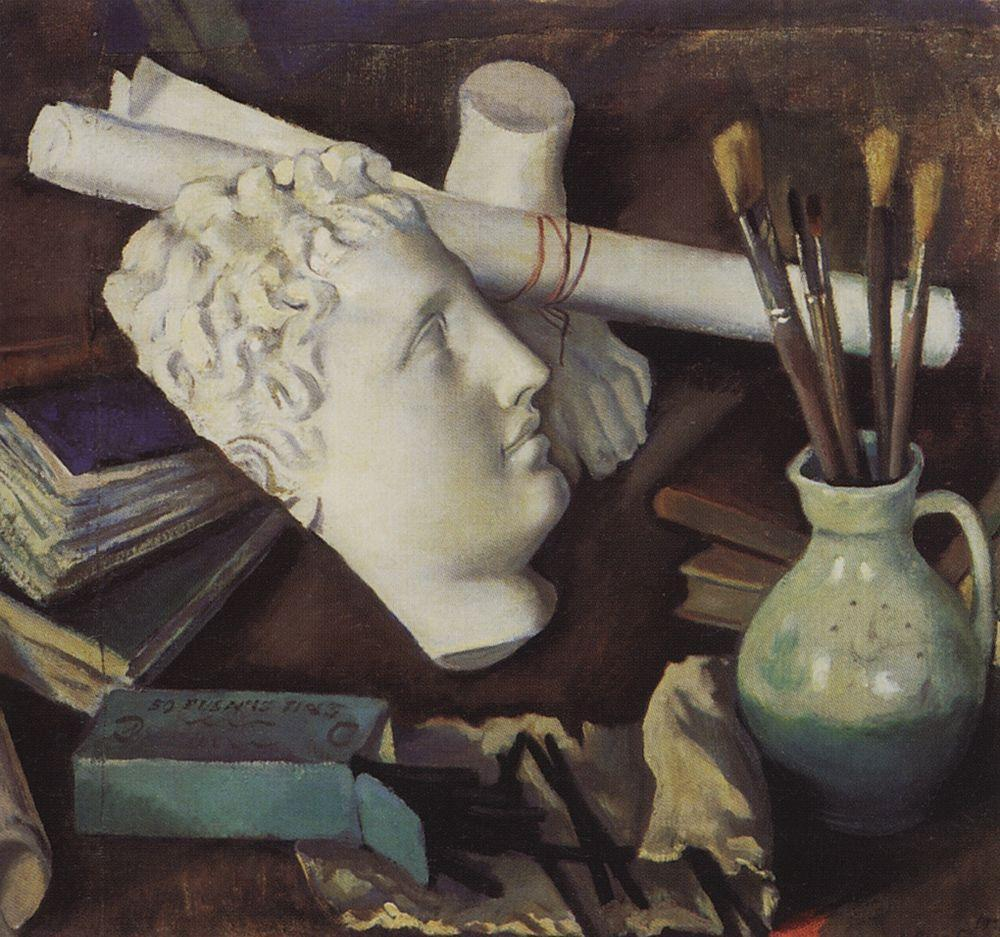 Despite her incomplete art education, she had close contact with her uncle, Alexander Benois, who founded, together with Sergei Diaghilev, the World of Fine Arts association. It was family tradition that destined Serebryakova to tread the path of an artist \ Still Life with Attributes of the Arts, 1922