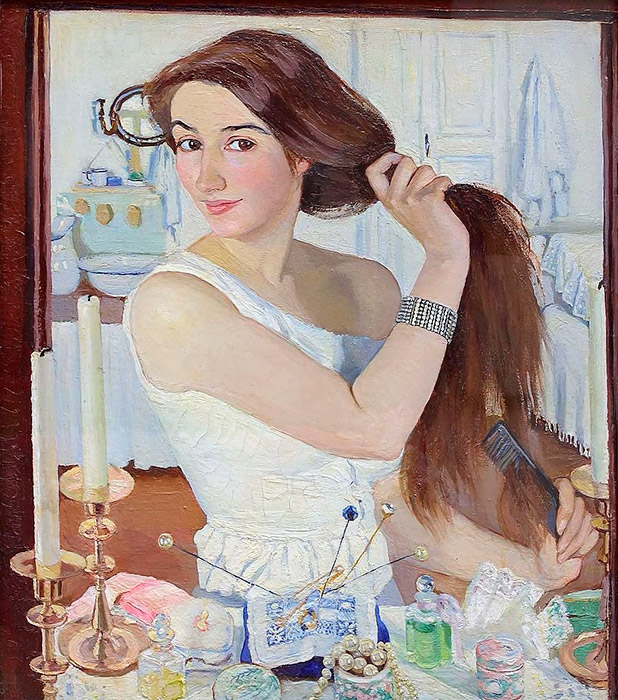 "At the 7th Exhibition of Russian Artists in Moscow in 1910, the Tretyakov Gallery purchased Serebryakova's self-portrait ""At the Dressing Table"" and the gouache ""Autumnal Greenery"". Critics noted the magnificence of her landscapes: the clear, bright tones, technical expertise, and unparalleled natural beauty. \ At the Dressing Table, 1909"