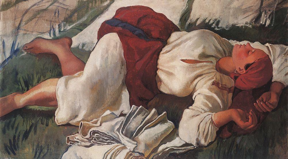 The prime of her creativity came in 1914-1917 in Russia. During this period, Zinaida Serebryakova created a series of paintings devoted to Russian village life, peasant labor, and nature. \ Sleeping Peasant, 1917