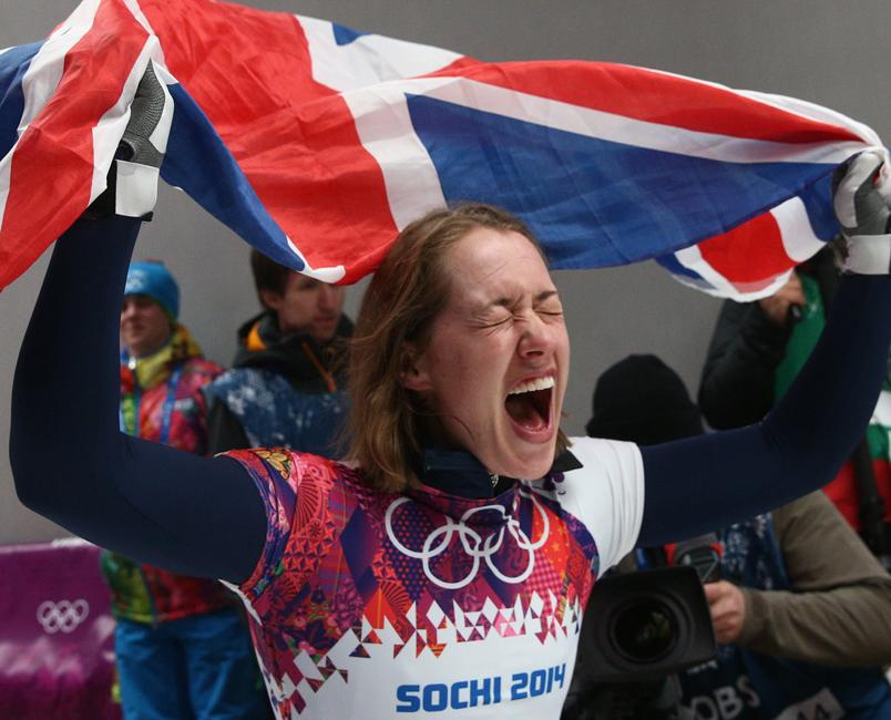 Elizabeth Yarnold of Great Britain has won gold in the Women's Skeleton event at Sanki Sliding Center.