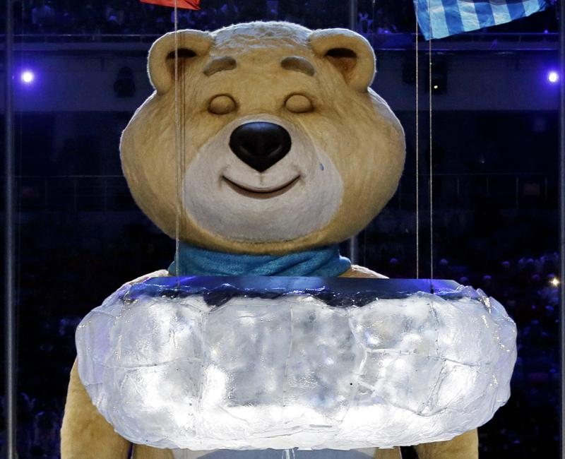 The most memorable of the Sochi Olympics mascots, the giant bear, closed the farewell ceremony by blowing out the Olympic flame and shedding a single tear.