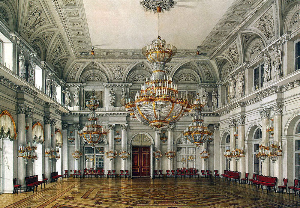 The current building was constructed between 1754—1762 by the Italian architect Francesco Bartolomeo. Rastrelli in Elizabethan Baroque style. This term describes the Russian Baroque architectural style under Empress Elizabeth Petrovna (1741-61) that includes elements of French Rococo in interiors. / Concert Hall