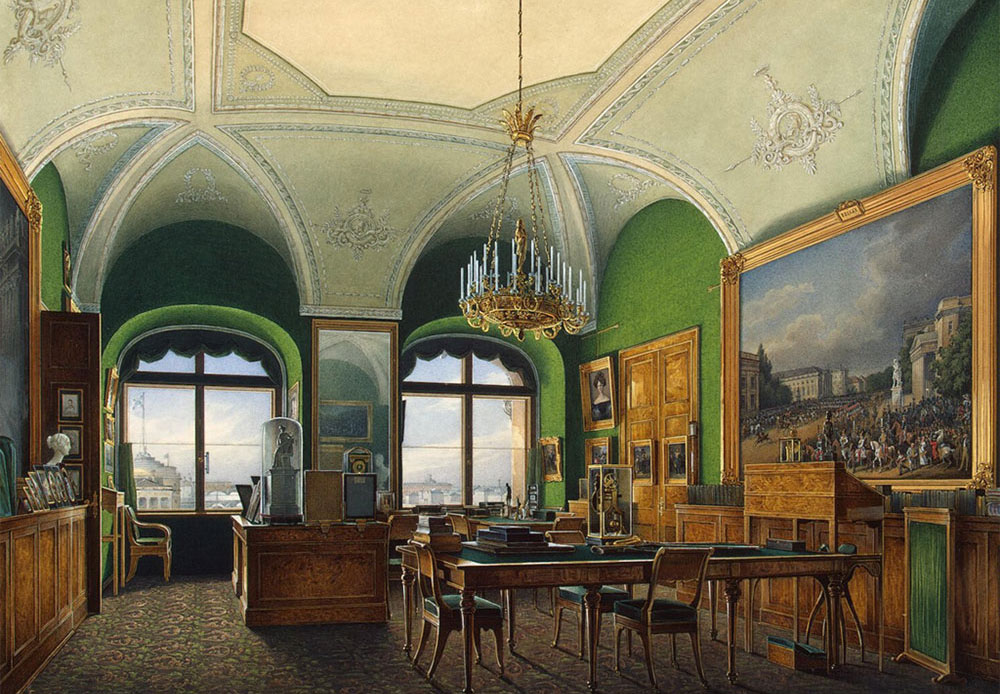 Russian artist Eduard Gau illustrated in his watercolor paintings all of the splendor, brilliance, and opulence of the imperial palace's interior. / The Great (Nicholas) Hall