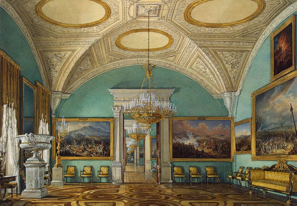 Starting in the 1850s, by order of Emperor Nikolai I, Gau started painting watercolors of the Winter Palace's interior. / Fifth hall of the Military Gallery