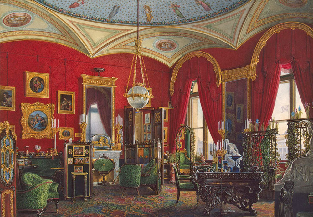 It is well known that in the 1850s, Eduard Gau received an order from Emperor Nikolai I to paint the palace interiors at Tsarskoye Selo, Peterhof, and the Winter Palace. Later (in the 1860 and 1870, during the reign of Alexander II), Gau created images of the Nikolayevsky and Mikhailovsky Palaces in Saint Petersburg as well as the Grand Kremlin Palace (the Emperor's official residence in Moscow). / Empress Maria Fedorovna's Cabinet