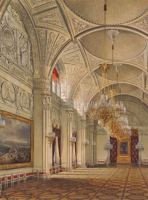 The Winter Palace illustrated in Gau's paintings was used as the official winter residence of Russian emperors from the time of its completion in 1762 through 1904. /  Alexander Hall
