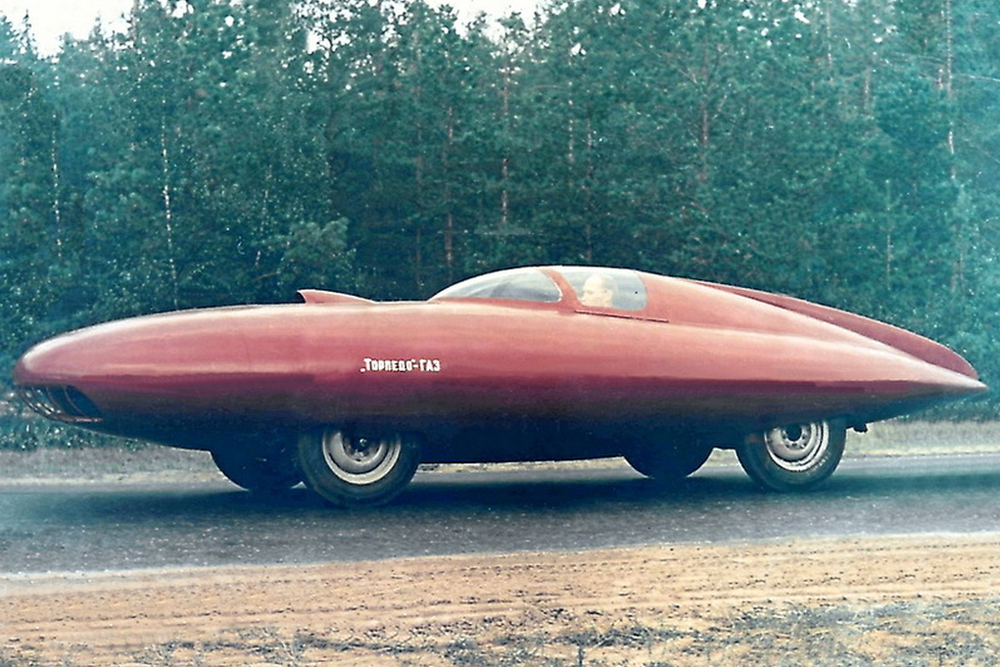 Gaz-Torpedo. Another sports concept car from Soviet aircraft builders. In 1951, attempting to create a new vehicle, aeronautical engineers designed a new body completely from scratch. Using the same aircraft materials (duralumin and aluminium), designer A. Smolin built a tear-shaped streamlined body 6.3 m long, 2.07 m wide, and 1.2 m high, weighing a total of 1100 kg. Unfortunately, the car did not stand out for its speed and remained a prototype, but one survives to this day and is now on museum display.