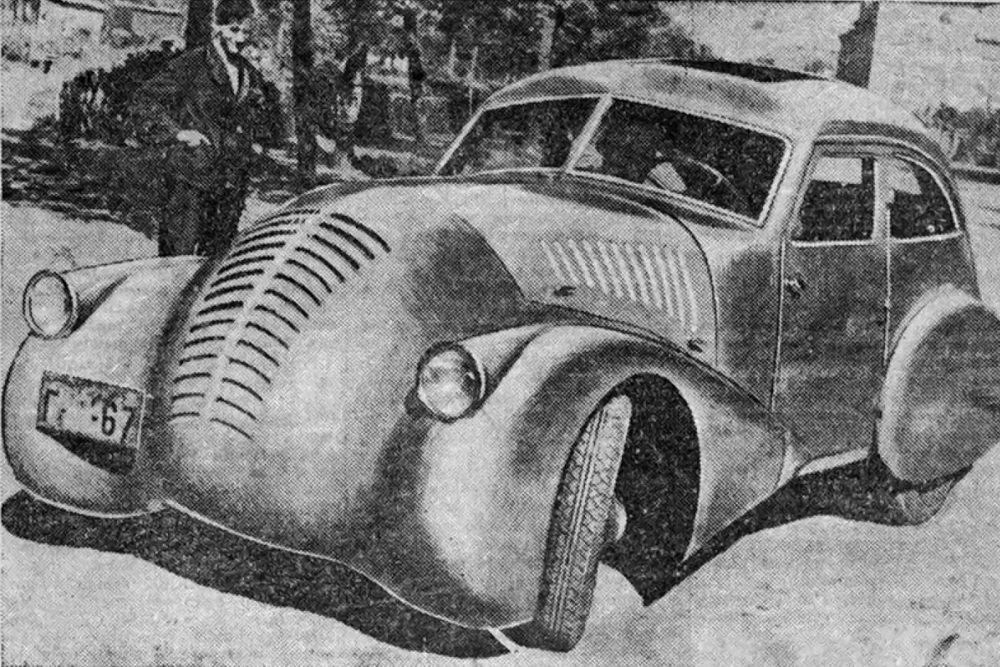 "Gaz-Aero. Created in 1934 by designer Alexei Nikitin as a result of a study entitled ""Automobile aerodynamics and streamlining,"" which was essentially this young engineer's student dissertation. The body of the GAZ-A-Aero had a wooden frame and metal casing. Only one was built and its whereabouts are unknown."