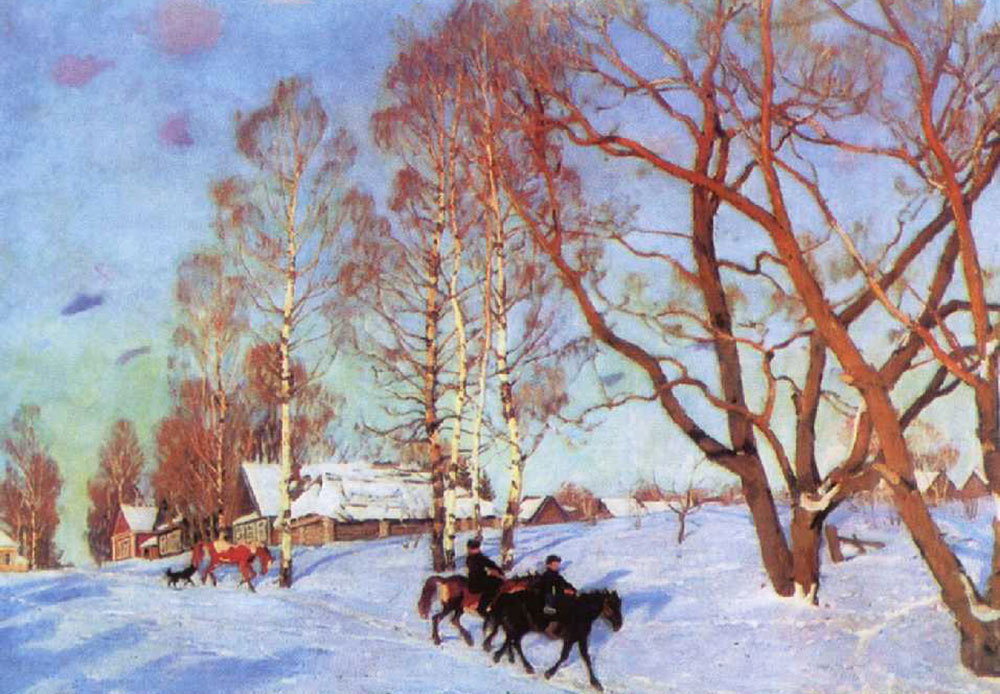 Russia is a huge northern country where, for many people, winter never seems to go away. The first month of spring, March, in Russia is often as depicted in this painting: drifts and snow-covered houses with the sun peeking through the clouds for the first time after the long winter. //March Sun, 1915 Yuon