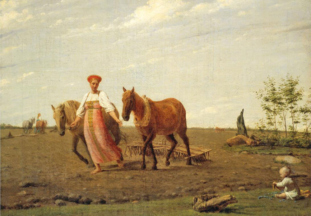 Venetsianov often depicted peasants and workers. In this picture, a Russian plow-woman and the entire surrounding landscape seem to be hailing the coming of spring. / In the Fields Spring, Alexei Venetsiantov