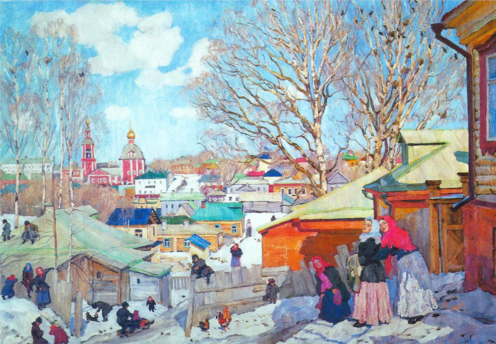 This could be a typical spring day in Russia — fewer snowdrifts, but kids are still sledding down the snowy hills. Early March is usually the time of Maslenitsa or Shrovetide, when winter is seen off, although it is in no hurry to depart. // Spring Sunny Day, 1910, Konstantin Yuon