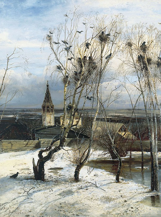 """The Rooks Have Arrived"" ( 1871) is a famous painting by Russian artist Alexei Savrasov. He first sketched it at the village of Molvitino near Kostroma (340 km from Moscow). This picture of a typical early spring day is complemented by the image of the Church of the Resurrection, which survives to this day."