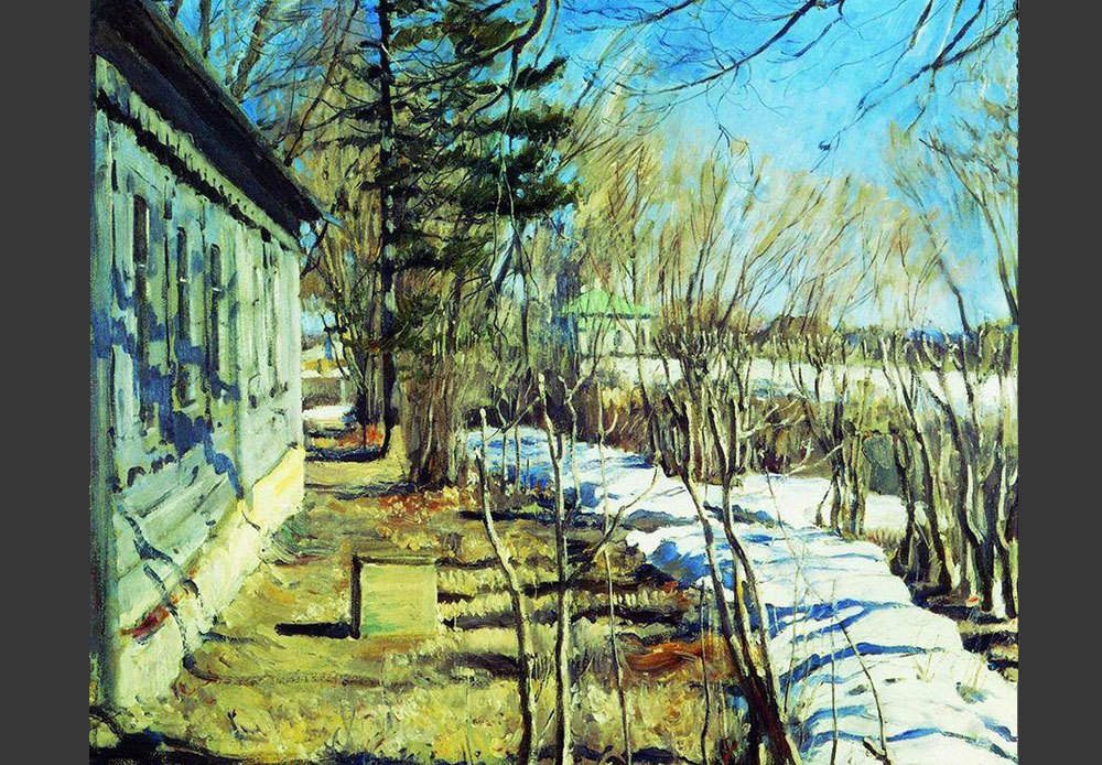 Artist Sergei Vinogradov painted mostly in a decorative plein-air manner. His forte was landscapes with natural light in natural conditions. // Spring Is Coming, 1911 Sergei Vinogradov