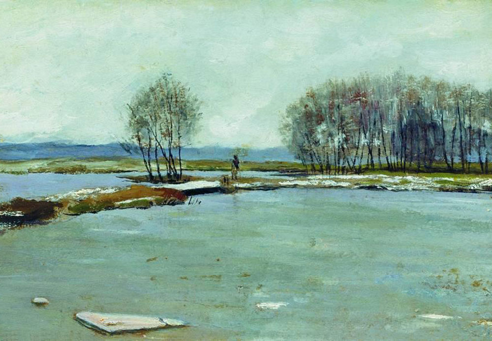 Levitan often employed the motif of the awakening of nature. He especially loved the spring landscapes of northern Russia: bright sunshine and summer heat are yet to arrive, but the snow is melting away and the rivers are becoming free of ice. / Early Spring, 1899 Isaac Levitan
