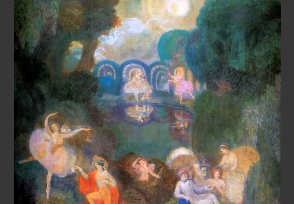 "Sergei Sudeikin (1882-1946) was expelled from the Moscow School of Painting for a style that was ""not part of the curriculum,"" but after a couple of years later became a popular theater artist. During his career, he designed stage settings for many theaters, such as the Metropolitan Opera / Sergei Sudeikin, 1910"