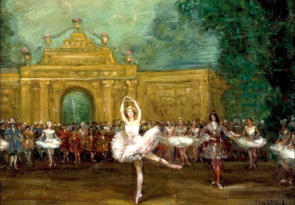 "The ballet ""Pavillon d'Armide"" was staged at the Mariinsky Theater in St Petersburg in 1907, and two years later the premiere, starring Anna Pavlova, was held in Paris thanks to Sergei Diaghilev's Ballets Russes / Sergei Sudeikin, Russian ballet (Pavlova and Nijinsky in ""Pavillon d'Armide""), 1907"
